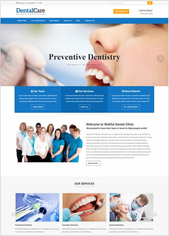 Responsive HTML Template Dentists