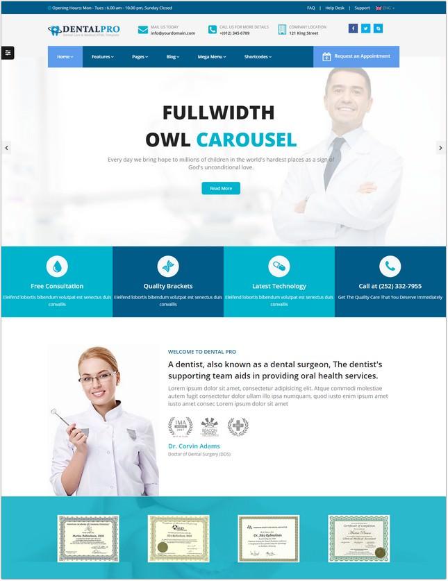 Dentist Medical website template