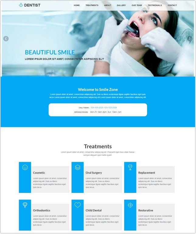 Dentist Clinic HTML Website Template free