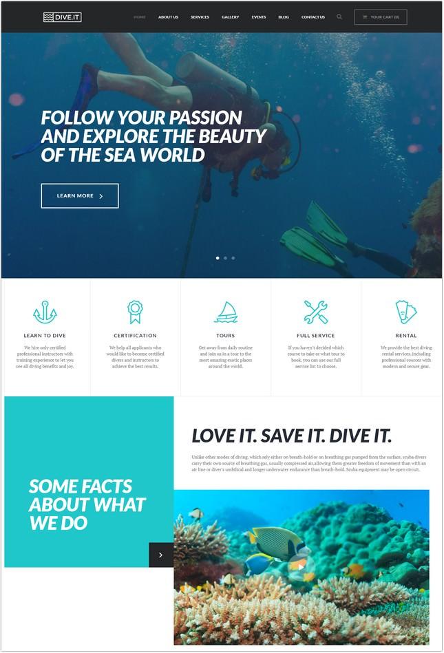 Scuba Diving School WordPress Theme