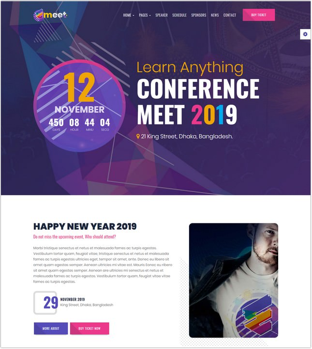 Event HTML Emeet for Event, Conference and Meetup