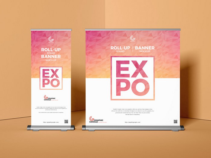 Expo Roll-Up Stand Banner Mockup
