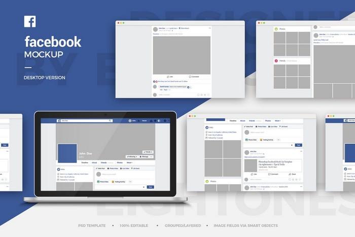 Facebook Desktop Mock-Up Template