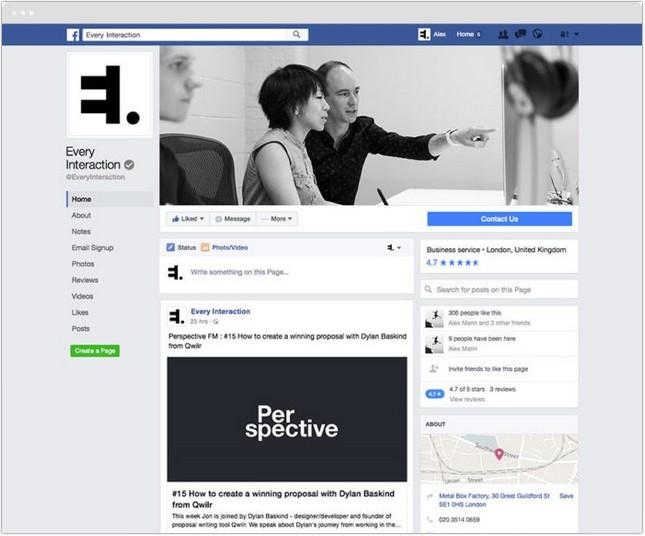 Facebook Page GUI mockup