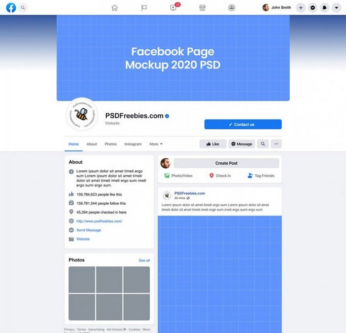 Facebook Page Mockup 2020 PSD