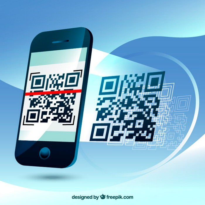 Fantastic Background of Mobile Phone Scanning A QR Code -Vector Free