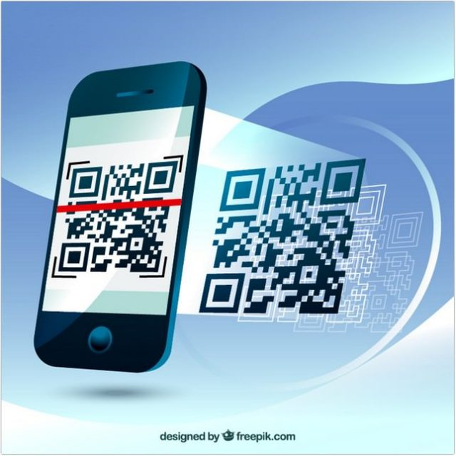 Fantastic Background of Mobile Phone Scanning A QR Code -Vector
