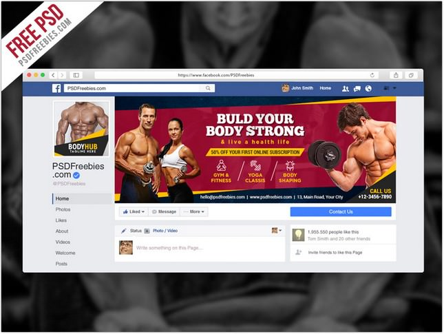 Fitness Gym Facebook Fanpage Cover psd