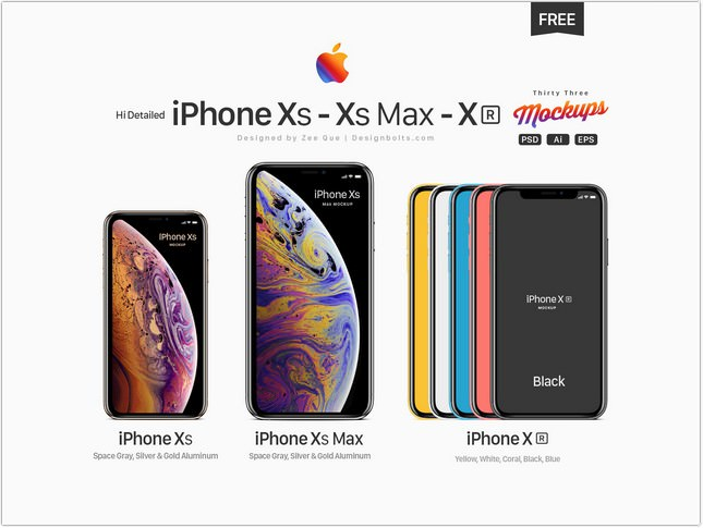 Free Apple iPhone Xs, Xs Max, Xr Mockup PSD