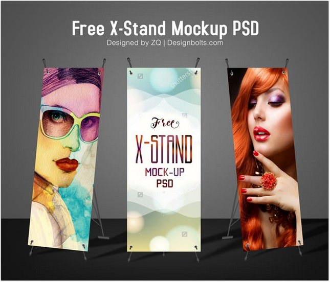 High Quality X-Stand Banner Mock-up PSD