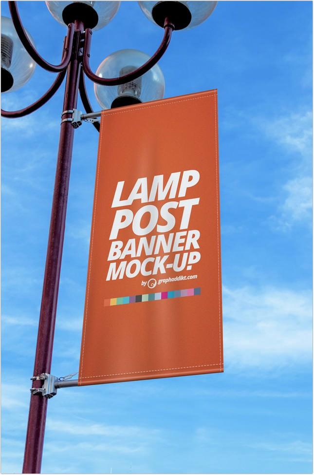 Lamp Post Banner Mockup psd