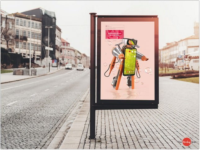 Roadside Advertising Banner Mockup PSD