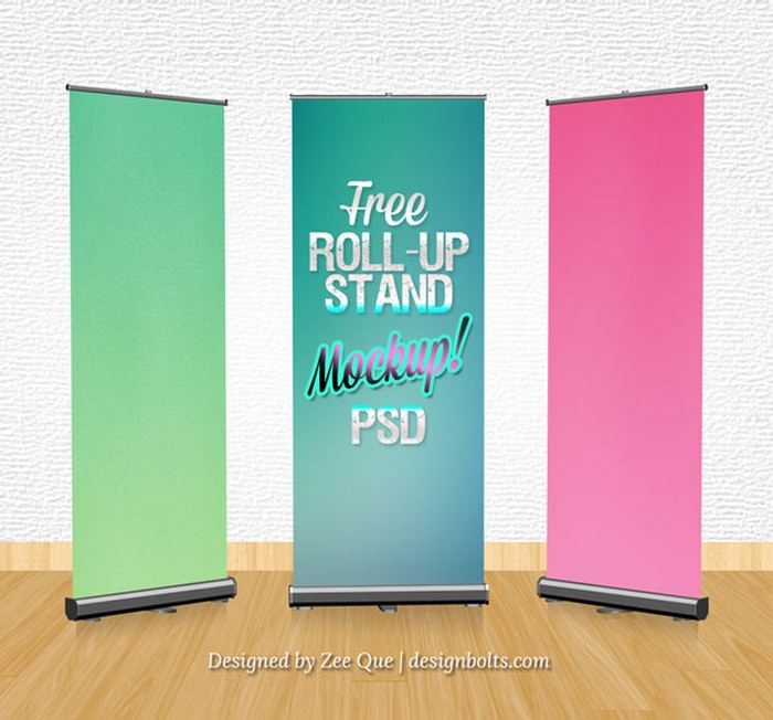 Free Roll-up Banner Stand Mockup PSD