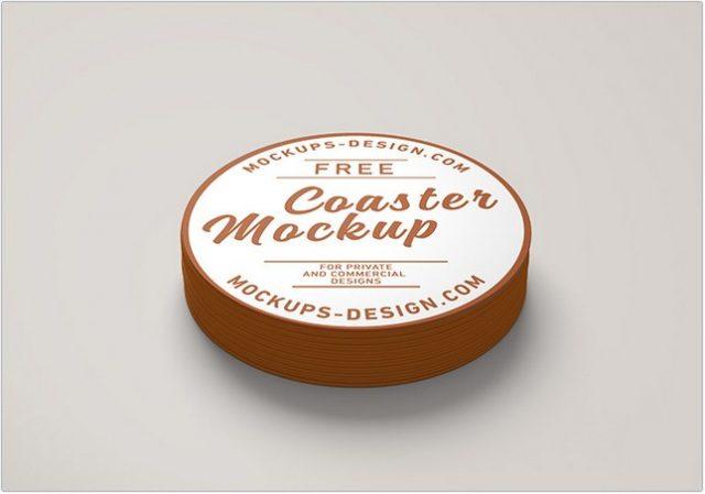Free Round Coaster Mockup