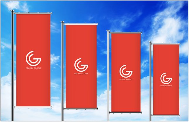 Streamer-Vertical Banners Mockup For Advertisement