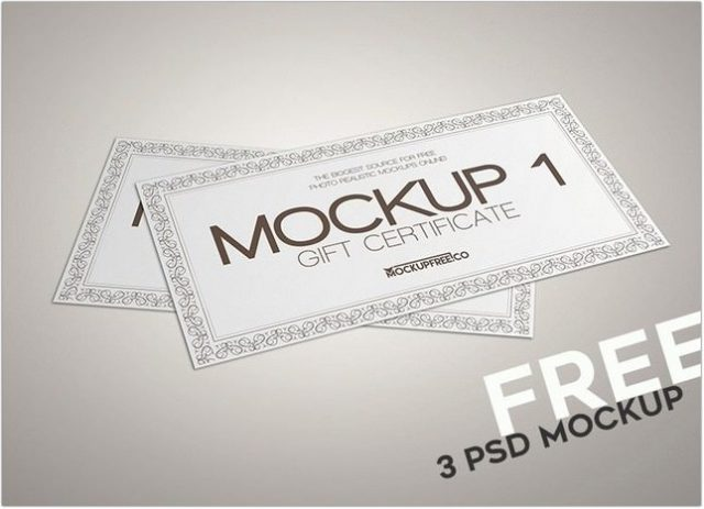 Free Gift Certificate 3 PSD Mockups