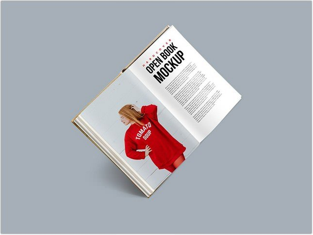 Hardcover Open Book Mockup PSD
