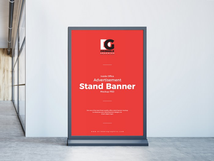 Inside Office Advertisement Stand Banner Mockup PSD