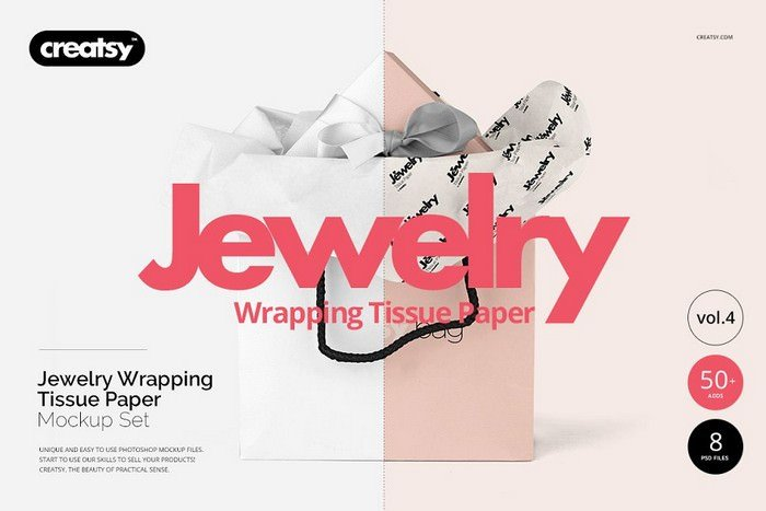 Jewelry Wrapping Tissue Paper Mockup