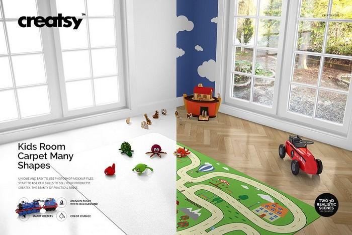 Kids Room Carpet Mockup Set