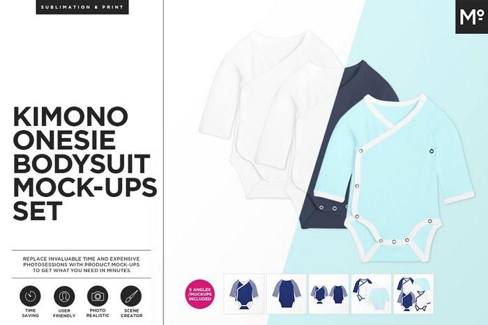 Kimono Onesie Bodysuit Mock-ups Set