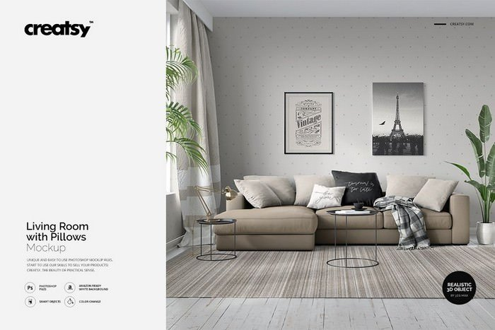 Living Room with Pillows Mockup