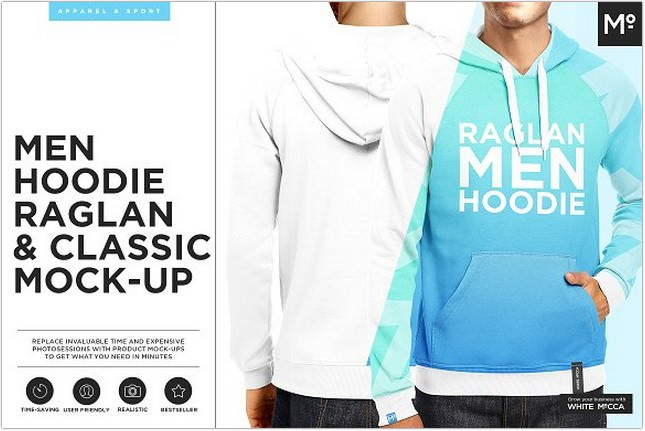 Men Hoodie Raglan & Classic Mock-up Template