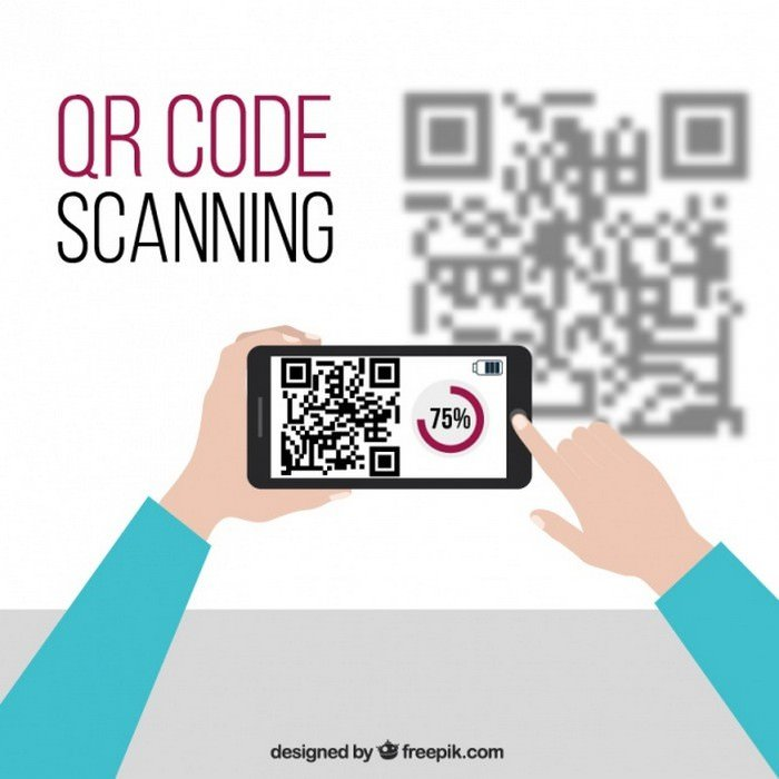 Mobile Technology Background And QR Code - Vector