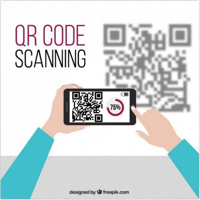 Mobile Technology Background And QR Code template