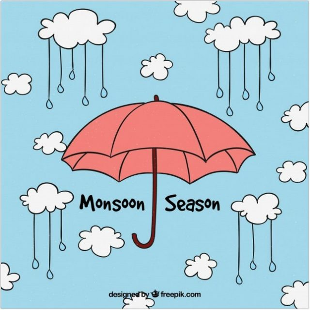 Monsoon Background Umbrella Vector