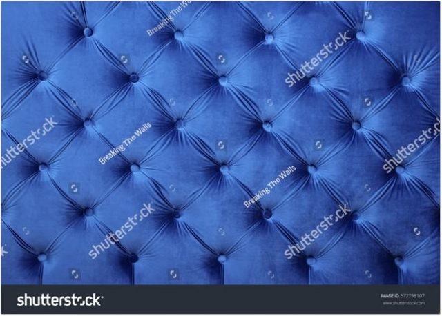Navy Blue Velvet Capitone Textiles