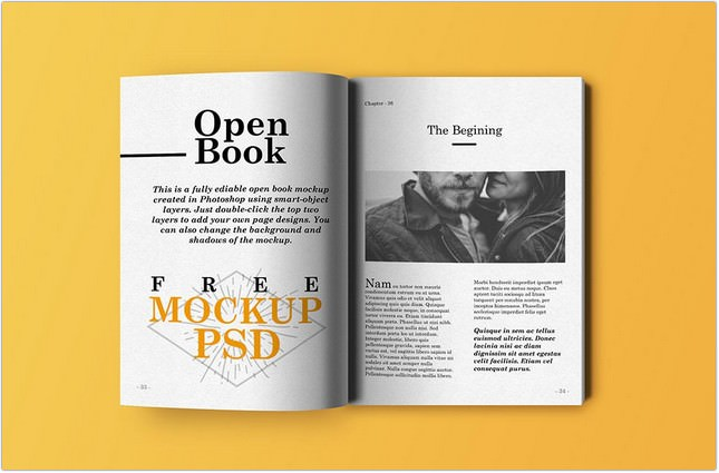 Open Book Mockup PSD Template