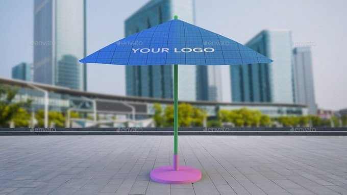 Outdoor Sun Umbrella for logo presentation