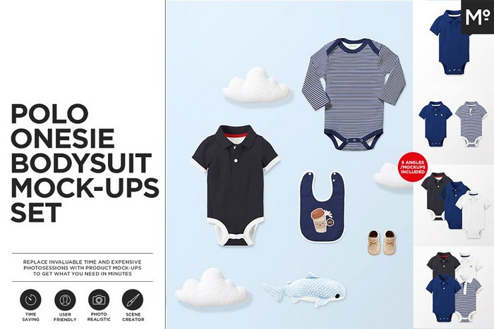 Polo Onesie Bodysuit Mock-ups Set