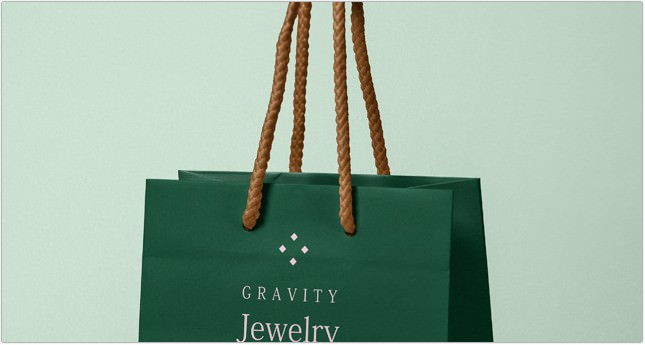 Psd Gravity Jewelry Paper Bag Mockup