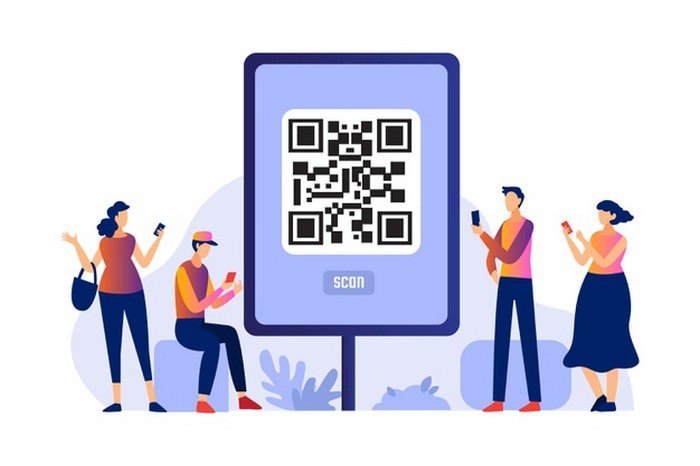 QR Code Scanning with Characters Concept