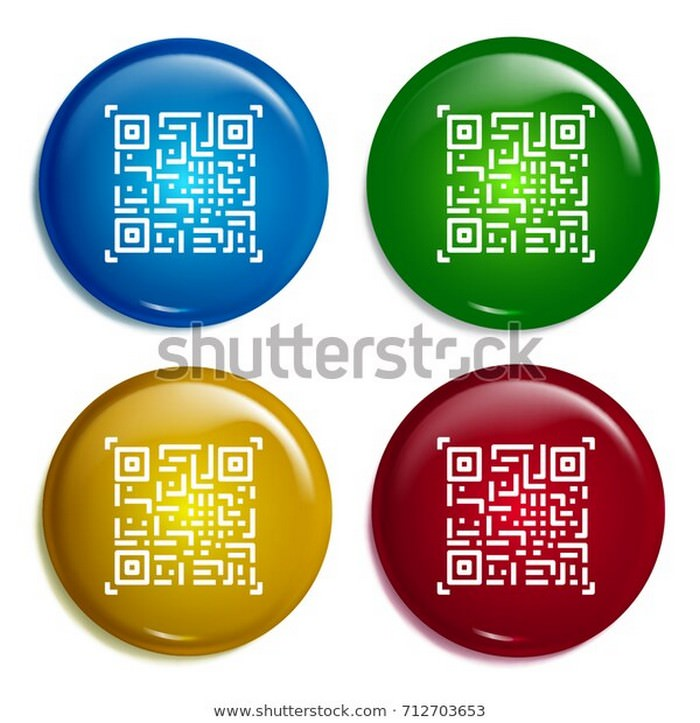 Qr code Multi Color Gradient Glossy Badge icon Set Mockup