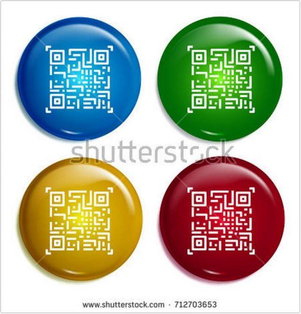 Qr code Multi Color Gradient Glossy Badge icon Mockup