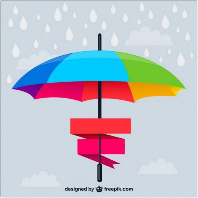 Rainbow Umbrella With Ribbons Vector Free