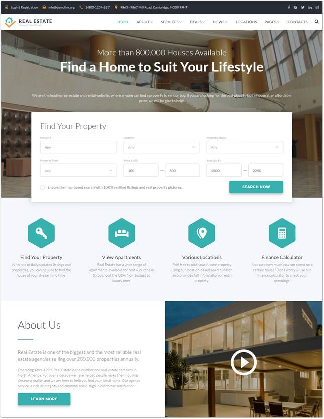 Real Estate - Multipage Website Template