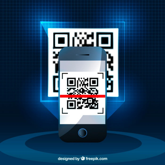Realistic Background of Mobile Phone With QR Code - Vector Free