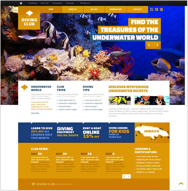 Responsive Diving Website Template