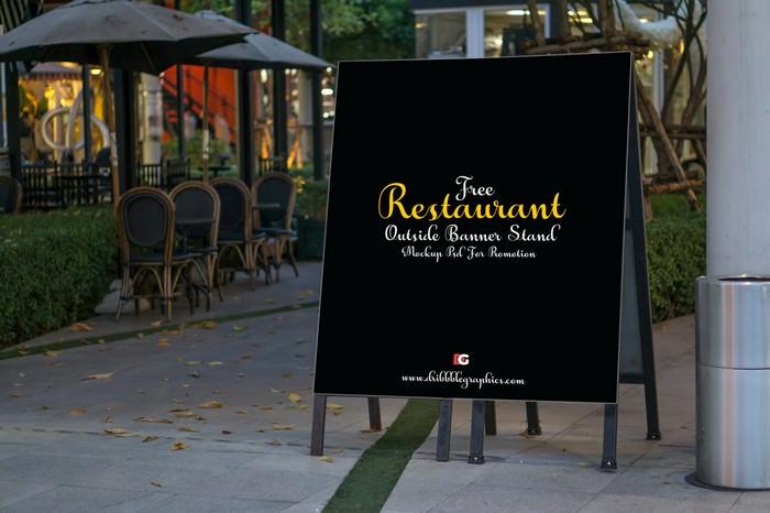 Restaurant Outside Banner Stand Mock-up