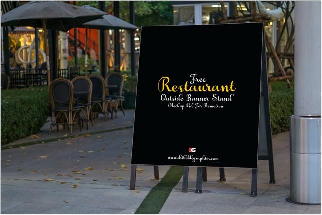 Restaurant Outside Banner Stand Mock-up psd