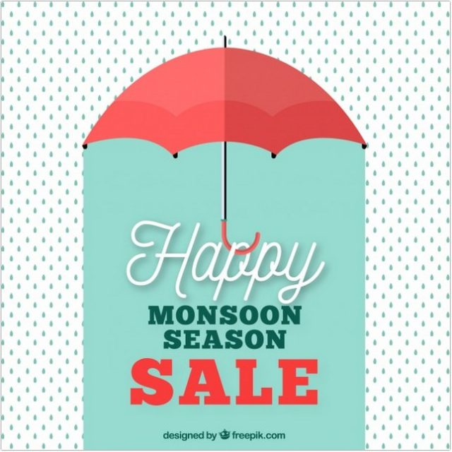 Retro Monsoon Sale Background With Umbrella And Drops Vector Free