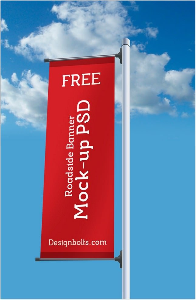 Roadside Pole Banner Mockup psd