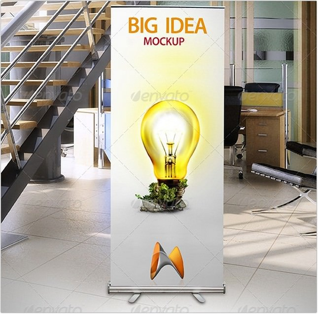 Roll Up Banner Mockup psd