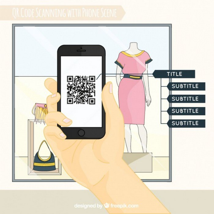 Shop Window And Mobile Background Scanning QR Code - Vector Free