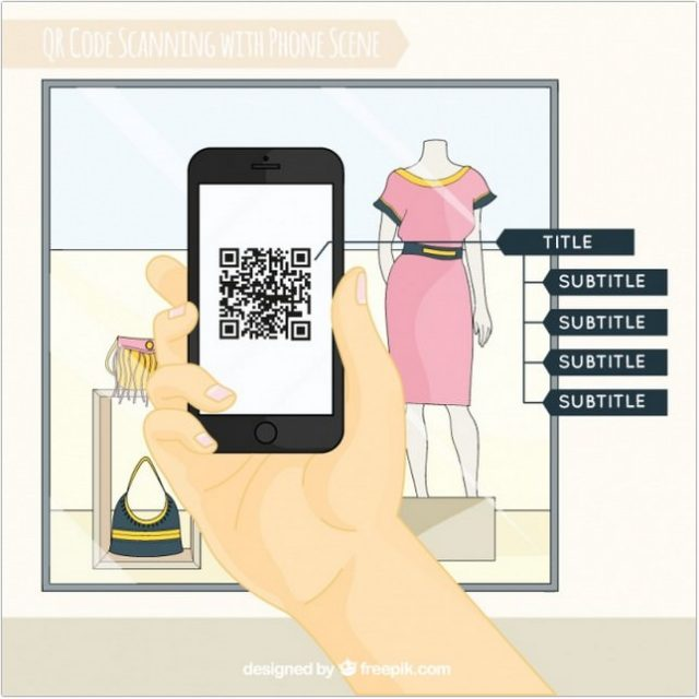 Shop Window And Mobile Background Scanning QR Code - Free