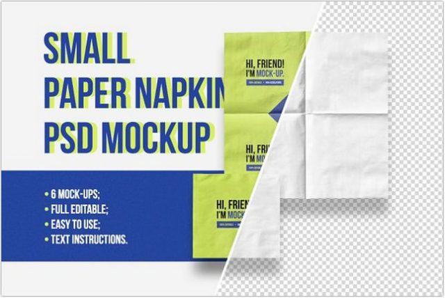 Small Paper Napkin Mockup